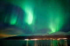Zieleni zorz borealis tanczy w niebie Obrazy Royalty Free