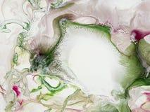 Zielenieje abstrakcjonistyczna ręka malującego tło i różowi, akrylowy paintin Zdjęcia Stock