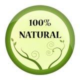 Zielenieje gatunek, etykietkę lub odznak 100% naturalnych, Zdjęcie Royalty Free