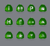 Zielenieje hotelowe ikony Zdjęcia Royalty Free