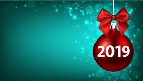 Zielenieje 2019 nowy rok tło z czerwoną Bożenarodzeniową piłką ilustracja wektor
