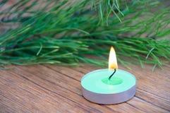 Zielenieje zaświecającą świeczkę przeciw tłu jedlinowe gałąź fotografia stock