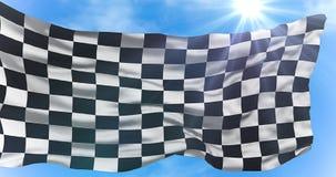 Zielflagge, Endenrennhintergrund, Formel 1-Wettbewerb unter Sonne strahlt Licht aus Lizenzfreie Stockfotos