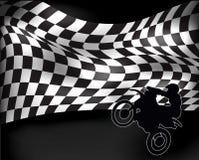 Zielflagge mit Wheeliemotorrad lizenzfreie abbildung