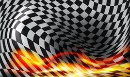 Zielflaggehintergrund und rote Flammen Lizenzfreies Stockfoto