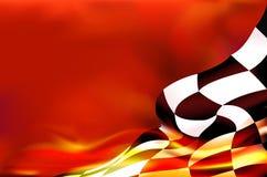 Zielflaggehintergrund und rote Flammen Lizenzfreie Stockfotos