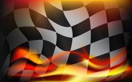 Zielflaggehintergrund und rote Flammen Stockbild