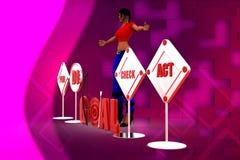 Zielillustration der Frau 3D Stockbilder