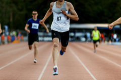 Zielliniesieger-Mannläufer Stockfotografie