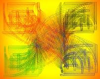 Ziellos-Farbeabstrakte Zusammensetzung mit farbige Anschläge auf einem y Stockfotos