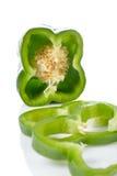 zieloną paprykę plasterki Zdjęcie Royalty Free
