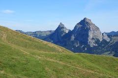 Zielona łąka Mythen i Mt Fotografia Royalty Free
