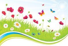 Zielona Łąka z Kwiatami i Motylami. Obraz Royalty Free