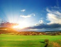 zielona łąkowa góra Zdjęcia Stock