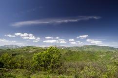 zielona łąkowa góra Skład natura Piękny krajobraz Duży Kaukaz wiosny widok natura Wiosna w Azerbejdżan Zdjęcie Royalty Free