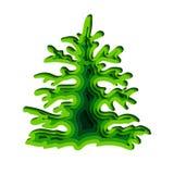 Zielona świerczyna na białym tle Odosobniony przedmiot dla reklamować plakaty, broszurki, ulotki o ekologii wektor ilustracji