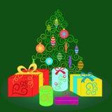 Zielona świerczyna z Bożenarodzeniowymi dekoracjami otaczać pudełkami ilustracji
