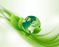 Zielona Abstrakcjonistyczna ekologii kula ziemska Backround Ilustracja Wektor