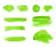 Zielona akwarela muska i plamy odizolowywać na białym tle ilustracji