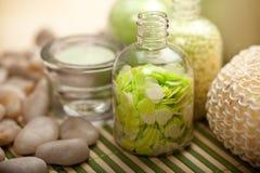 Zielona aromatherapy kąpielowa sól zdjęcie stock