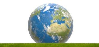 Zielona błękitna światowa planety ziemia 3d-illustration Elementy Zdjęcie Royalty Free