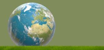 Zielona błękitna światowa planety ziemia 3d-illustration Elementy Obrazy Royalty Free