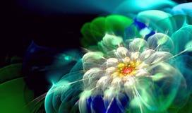 Zielona Błękitna kwiatu Vortex fractal sztuka Obrazy Royalty Free