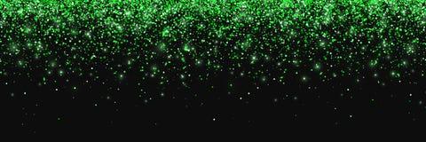 Zielona błyskotliwość na czarnym tle, spada cząsteczki, szeroki horyzontalny wektor ilustracji