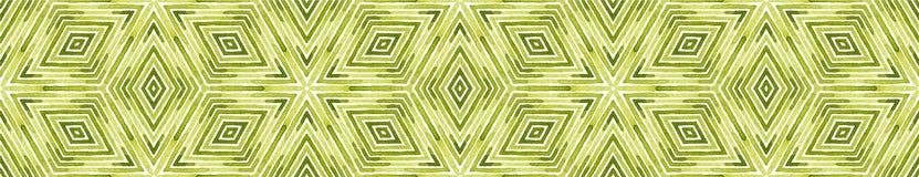 Zielona Bezszwowa Rabatowa ślimacznica Geometryczna akwarela ilustracja wektor