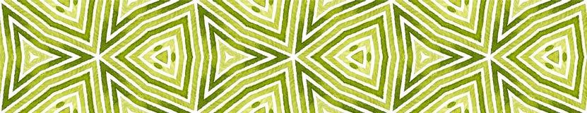 Zielona Bezszwowa Rabatowa ślimacznica Geometryczna akwarela royalty ilustracja