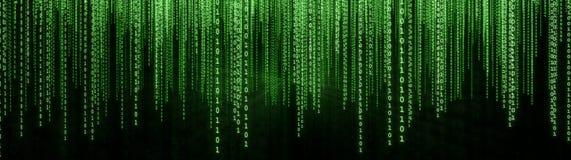 Zielona Binarna Matrycowa tło panorama Obrazy Stock