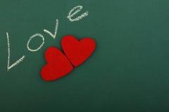 Zielona blackboard miłość Zdjęcia Royalty Free