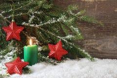 Zielona Bożenarodzeniowa świeczka zdjęcie royalty free