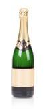Zielona butelka szampan z złotym wierzchołkiem. Obraz Stock
