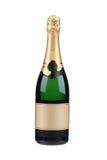 Zielona butelka szampan z złotym wierzchołkiem. Obrazy Royalty Free