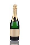 Zielona butelka szampan z złotym wierzchołkiem. Obrazy Stock