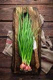 Zielona cebula lub scallion na drewnianej desce, świezi wiosna szczypiorki zdjęcia stock
