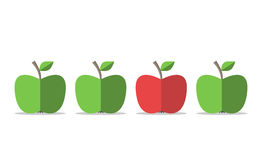 - zielona czerwone jabłko ilustracja wektor