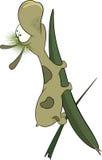 Zielona dżdżownica na liściu. Kreskówka Obraz Royalty Free