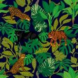zielona d?ungli Tropikalny druk ilustracja wektor