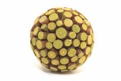 Zielona drewniana sfera dobra jako tło Obrazy Stock