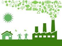 Zielona eco fabryka ilustracji