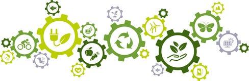 Zielona ekologia, środowisko trwałość ikony, przekładni pojęcie,/- wektorowa ilustracja royalty ilustracja