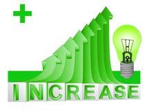 zielona energetyczna żarówka na zielonym powstającym strzałkowatym wykresu vect Fotografia Royalty Free