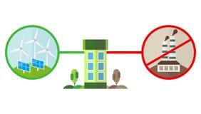 Zielona energia i zanieczyszczenie dla domu Obrazy Stock