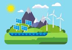 Zielona energia, krajobraz, ekologia Płaska projekta pojęcia ilustracja Obrazy Stock