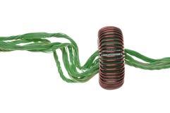 Zielona energia, miedziany kabel z zwitką Fotografia Stock