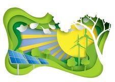 Zielona energia z natura krajobrazu papierem rzeźbi pojęcie Zdjęcie Stock