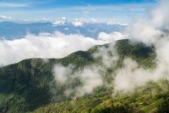 Zielona góra zakrywająca chmurą Obraz Royalty Free