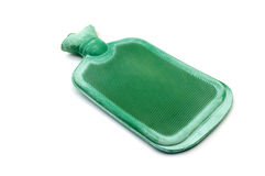 Zielona gorącej wody butelka lub gorącej wody torba na białym tle Fotografia Royalty Free